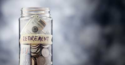 Jar of money for retirement