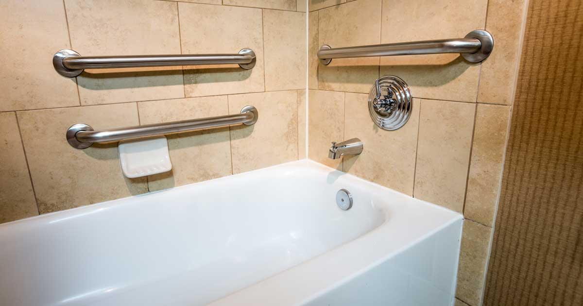 Home modification example bath tub grab bars