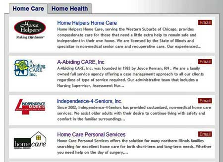 Home Care Search Results Snapshot